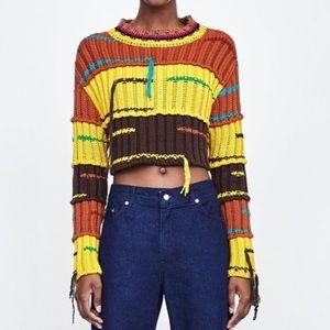 Zara Studio Cropped Sweater With Fringing